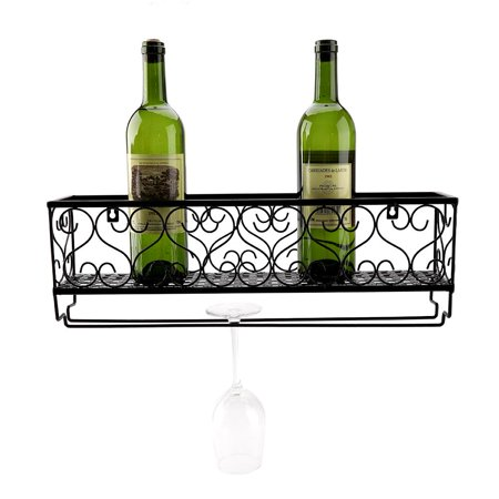 Knifun Wine Holder Wall Mount Metal Rack Bottle Champagne Gl Storage Bar Accessory With Shelf