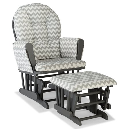Glider Rocking Chair Ottoman - Storkcraft Chevron Hoop Glider and Ottoman Gray with Gray Cushions