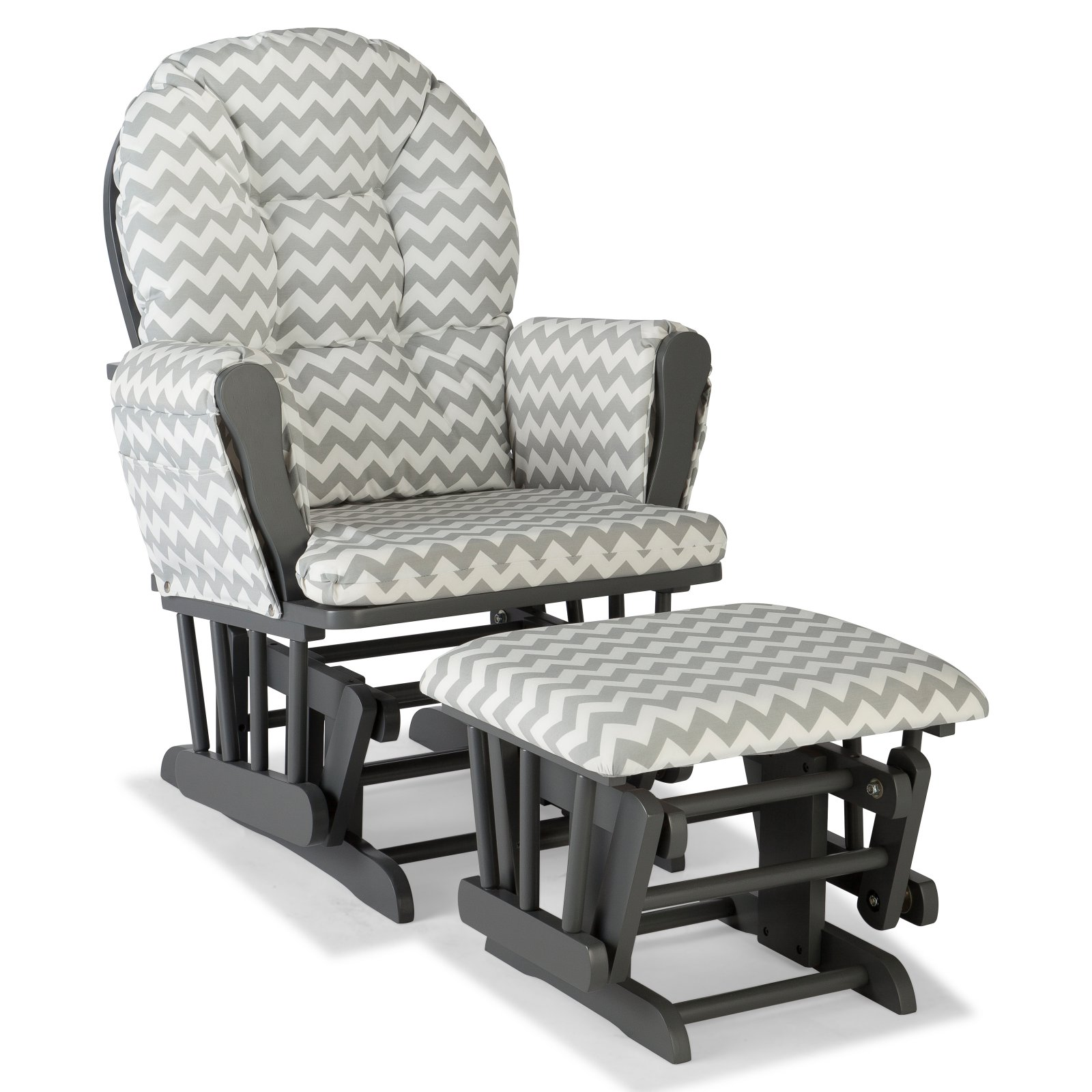 Storkcraft Chevron Hoop Glider and Ottoman White with Gray Cushions