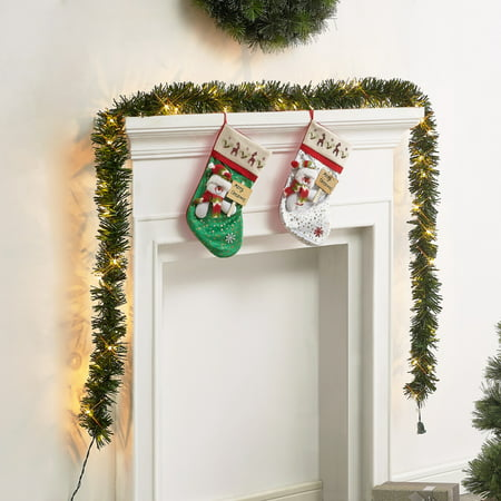 Holiday Time Pre-Lit Pine Garland, Clear, Easy Installation