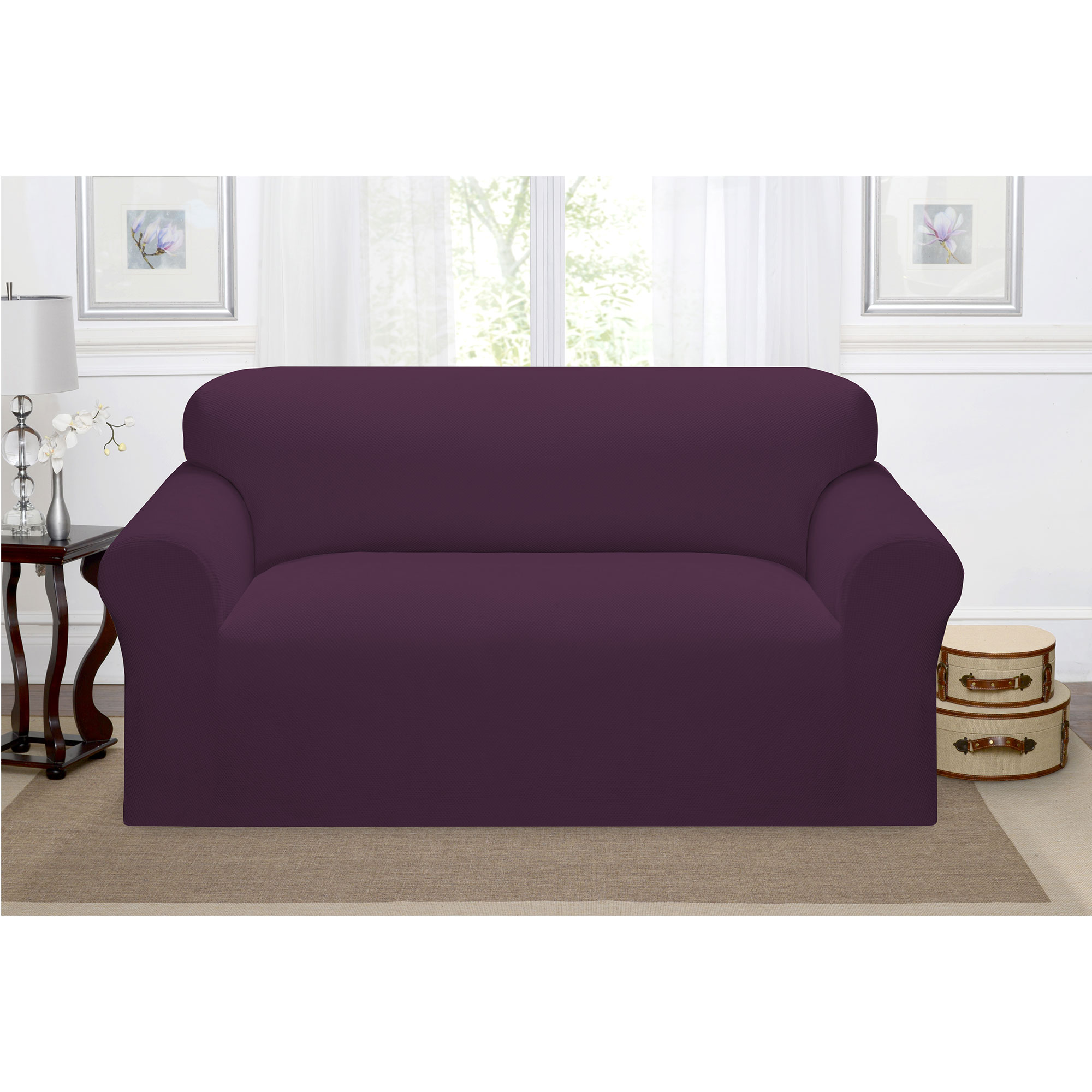 Madison Home Stretch Pique Furniture Slipcover, Soft Waffle Textured Pattern (Loveseat, Purple)