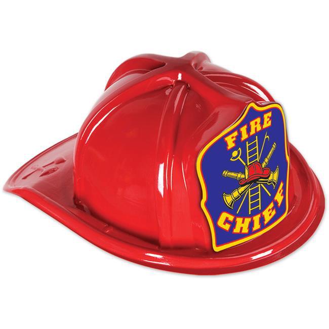DDI 2181360 Red Plastic Fire Chief Hat - Blue Shield, Cas...