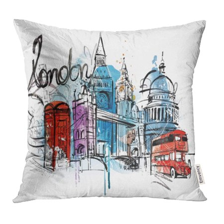 BSDHOME Blue Painting Visiting London Red Sketch Vintage Bus Flag Sightseeing Car Pillow Case Pillow Cover 20x20 inch Throw Pillow Covers - image 1 of 1