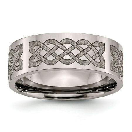 Anium Flat Polished 8mm Laser Design Chisel Wedding Ring Band 8