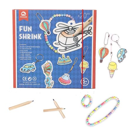 Fun Art And Crafts For Halloween (Mobee Fun Shrink Art for Kids and Adults 20 Pieces Precut Shrinky Paper Paint with 12 Color Pencils Creative Activity Kit Art Crafts Children Play)