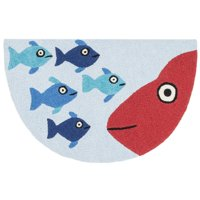 "Alexander Home Hand-hooked Marcy Blue/ Orange Fish Hearth Rug (1'9 x 2'9) - 1'9"" x 2'9"" Hearth"