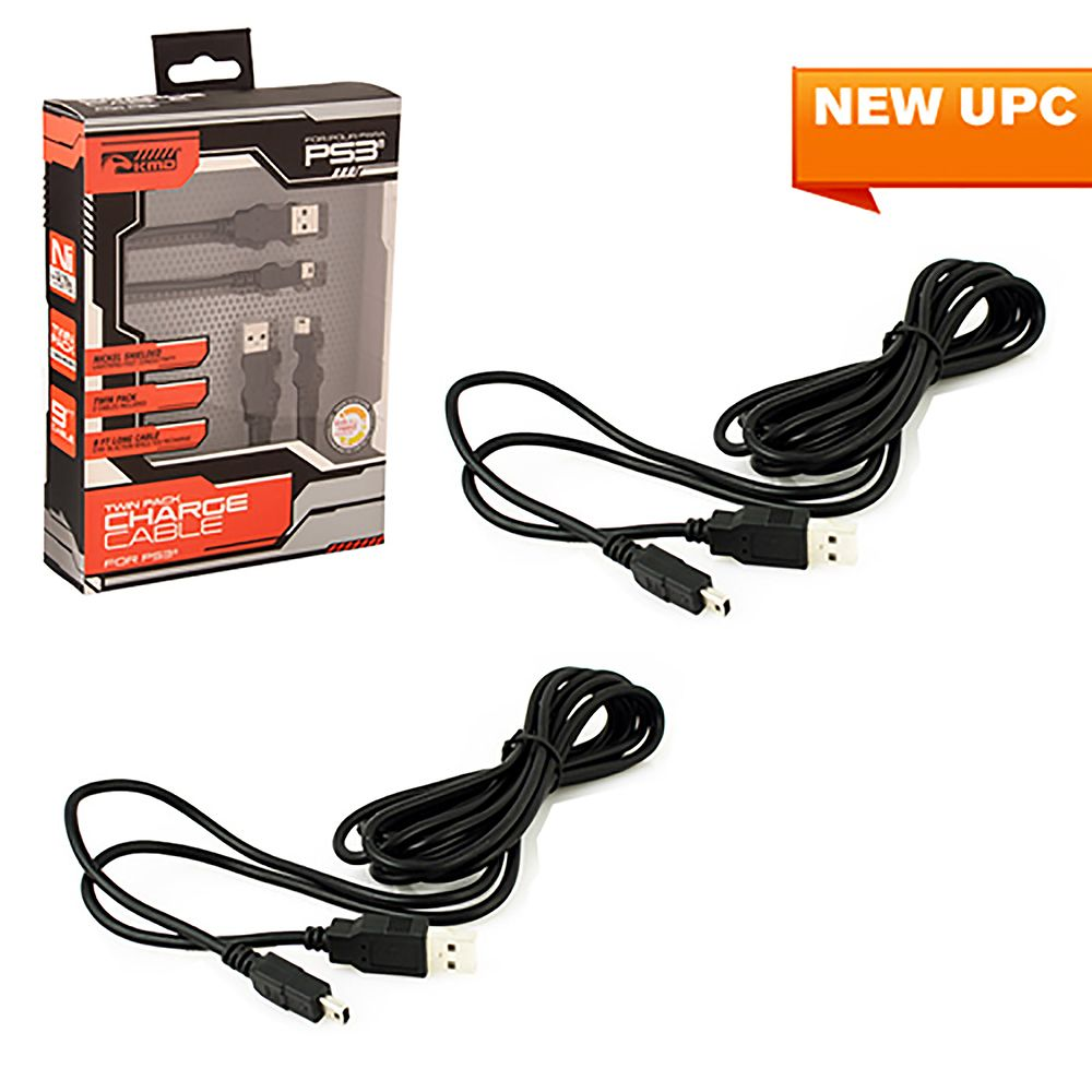KMD 9 Feet Twin Pack Charging Cable For Sony PlayStation 3 Controller