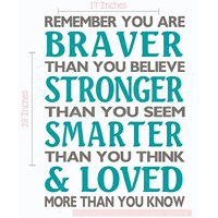 Braver Than You Believe Stronger Than You Seem Family Wall Decals Vinyl Lettering Stickers Inspirational Quote 17x23-Inch Castle Gray/Teal