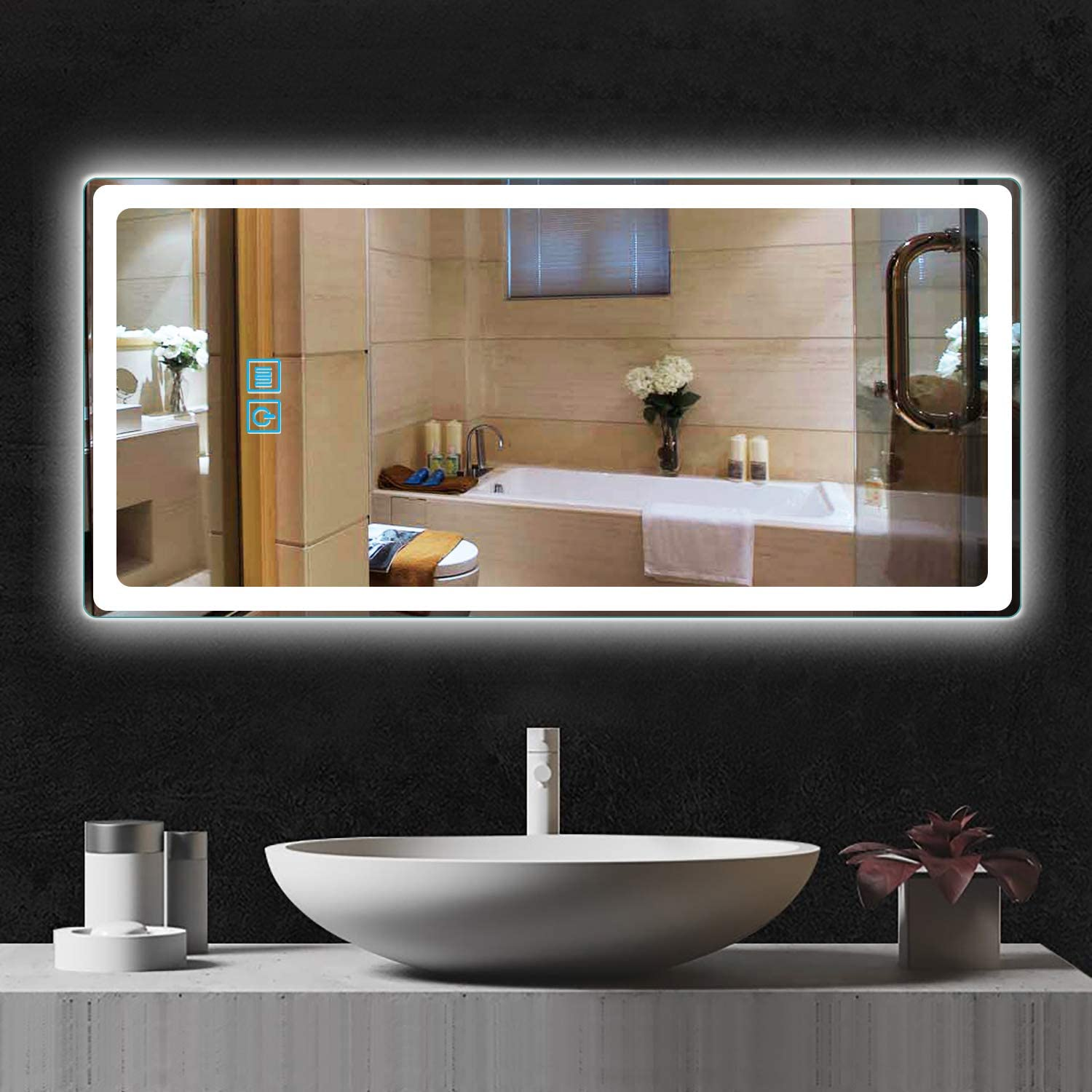 Neutype Led Wall Mounted Mirrors 44 X 20 Sleek Led Backlit Bathroom Mirror Frameless Round Corner Design Vertical Horizontal Large Make Up Mirror Defogger Dimmable Function Ul Listed Walmart Com Walmart Com