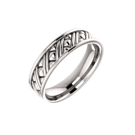 - 14K White Solid Gold 6 mm Woven Wedding Band Ring Size 10