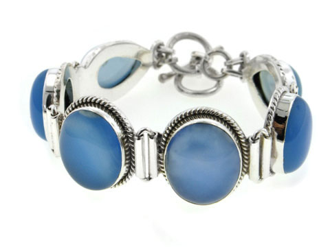 "7.5"" or 8"" Heavy 40gram Sterling Silver Large Blue Chalcedony Cabochon Gemstone Toggle Bracelet by"