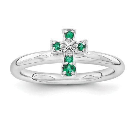 Created Emerald Cross - Sterling Silver Stackable Expressions Rhodium Created Emerald Cross Ring Size 7