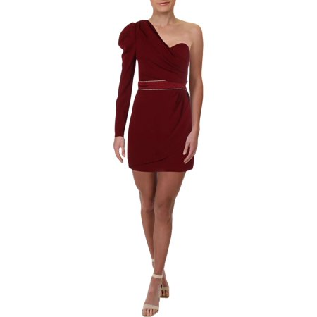 Bebe Womens One Shoulder Faux Wrap Party Dress Jeweled Party Dress