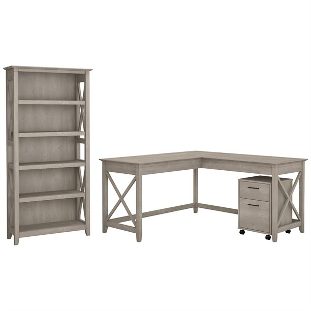 Bush Furniture Key West 60W L Desk with Cabinet and Bookcase in Washed Gray
