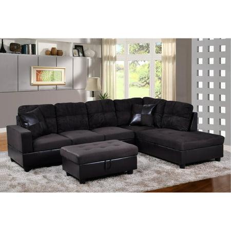Lifestyle Furniture LF105B Avellino Right Hand Facing Sectional Sofa, Dark Chocolate - 35 x 103.5 x 74.5 in.