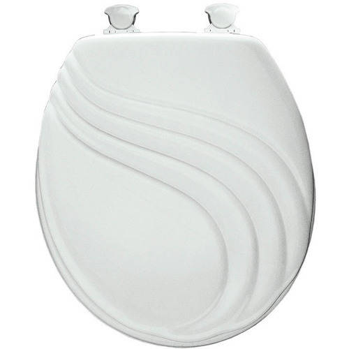 Mayfair 27EC Sculptured Swirl Lift-Off Wood Round Toilet Seat, Available in Various Colors