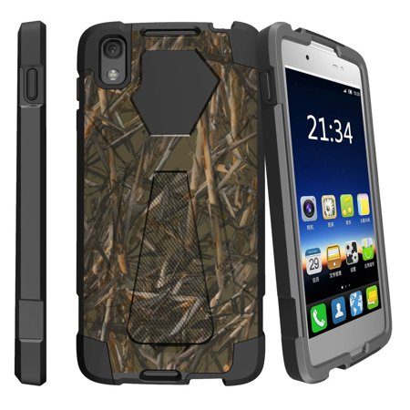 Alcatel One Touch Idol 4 and Nitro 49 Shock Fusion Heavy Duty Dual Layer Kickstand Case -  Dry Wood Camouflage