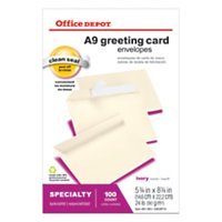 "Office Depot® Brand Greeting Card Envelopes, Clean Seal®, 5 3/4"" x 8 3/4"", Ivory, Box Of 100"