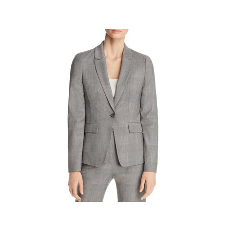 BOSS Hugo Boss Womens Wool Plaid One-Button Suit Jacket Gray -