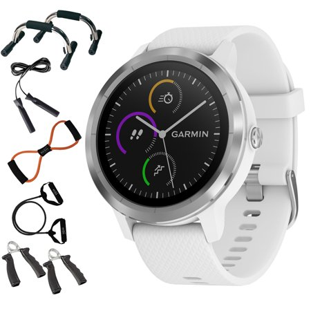 Garmin 010 01769 21 Vivoactive 3 Gps Fitness Smartwatch  White   Stainless    7 In 1 Total Resistance Fitness Kit