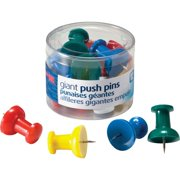Officemate Giant Push Pins, 1.5 inch, Assorted Colors, 12/Tub (92902)