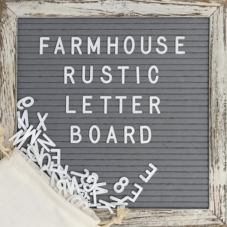 Felt Letter Board with 10x10 Inch Rustic Wood Frame, Script Words, Precut Letters, Picture Hangers | Farmhouse Wall Decor | Shabby Chic Vintage Decor | Grey Felt Message (Vintage Frames India)
