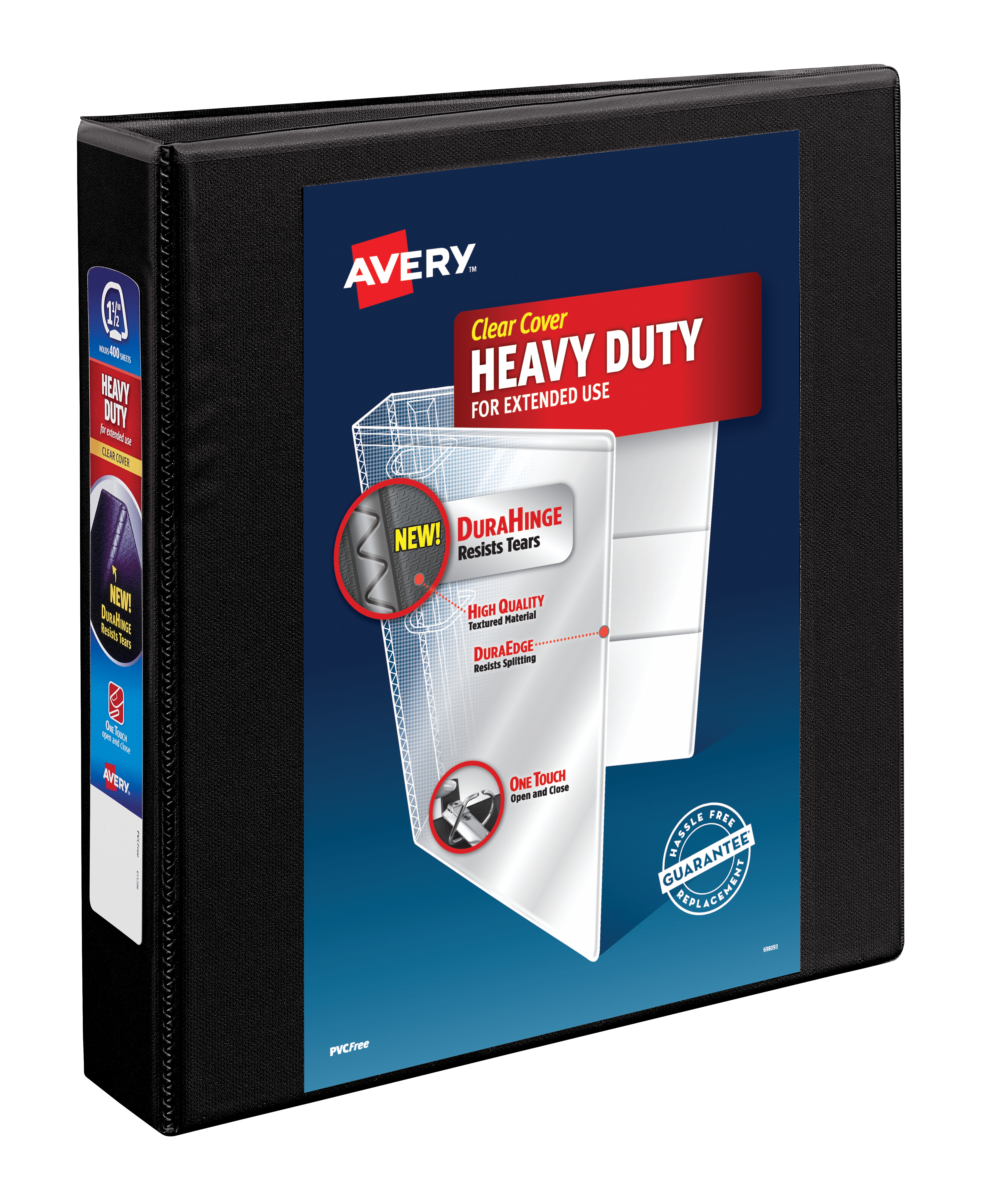 """Avery 1.5"""" Heavy Duty View Binder, One Touch EZD Ring, Black, 400 SHeets by Avery Products Corporation"""