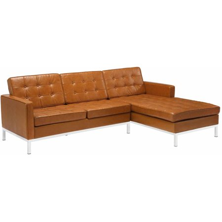Modway Loft Leather Left-Arm Corner Sectional Sofa, Multiple Colors