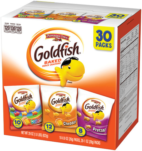 Pepperidge Farm Goldfish Classic Mix Crackers, 29 oz. Variety Pack Box, 30-count Snack Packs