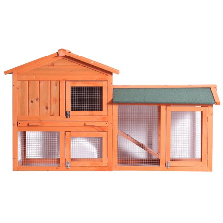 Wood Chicken Coop for Medium Pet, 54.5''X 17'' X 33.5'' Water Resistant Wooden Bunny Cage for Small Sized Dogs and Cats, Easy to Assemble, Perfect for Backyards, Wood Color,