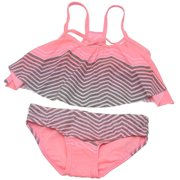 Gossip Girl Girls Pink Chevron Flounce Top Bottoms 2 Pc Swimsuit 7