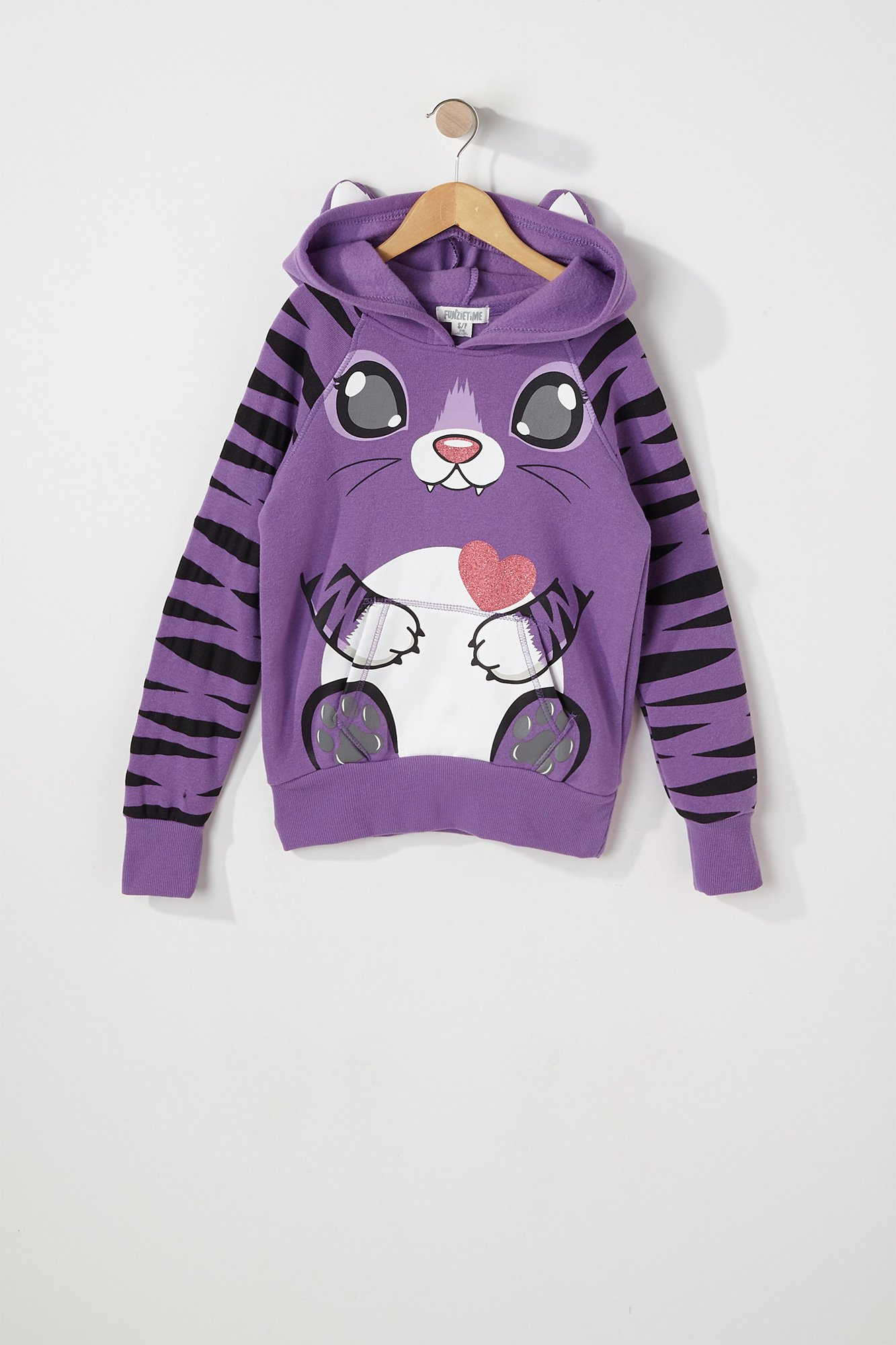 a58190c29 Urban Kids Youth Girl s Girls Purple Tiger Character Popover Hoodie ...