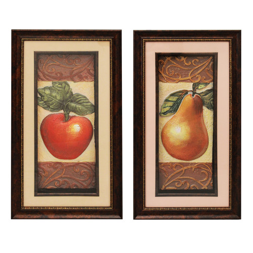EC World Imports Urban Designs Apple and Pear 2 Piece Framed Graphic Art Set by EC World Imports