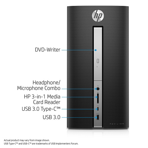 HP Pavilion 570-p020 Desktop PC with Intel Core i5-7400 Processor, 8GB Memory, 1TB Hard Drive and Windows 10 Home (Monitor Not Included)
