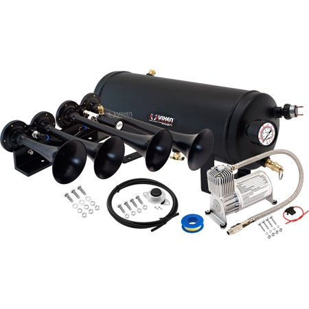 Vixen Horns Loud 149dB 4/Quad Black Trumpet Train Air Horn with 1.5 Gallon Tank and 150 PSI Compressor Full/Complete Onboard System/Kit VXO8715/4124B