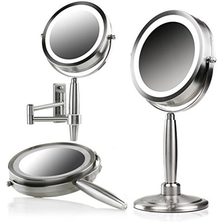 Ovente 7 Inch LED Lighted 3-in-1 Makeup Mirror (Tabletop, Wall Mount, Handheld) Battery Operated, Cordless SmartTouch 3 Light Tones (Cool, Warm, Natural) 1x/8x Magnification Brushed (MFM70BR)