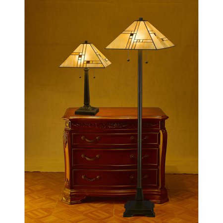Serena d'italia White Mission Table and Floor Lamp Set