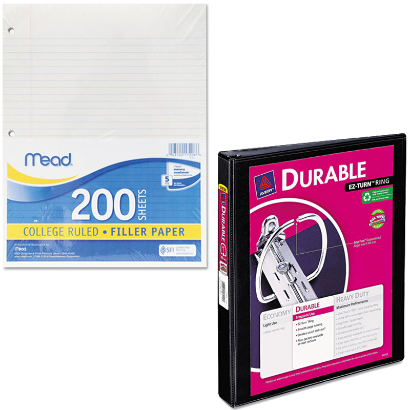"Mead Filler Paper, College Ruled, 3-Hole Punched, 11 x 8-1/2, 200 Sheets Per Pack and Avery Durable Reference Vinyl EZ-Turn Ring View Binder, 1"" Capacity Bundle"