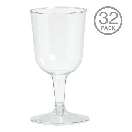 Plastic Stem Wine Glasses (Clear Reusable Plastic Wine Glasses Cocktail and Drink Party Drinkware and Barware, 5.5 oz. Big Party Pack of)