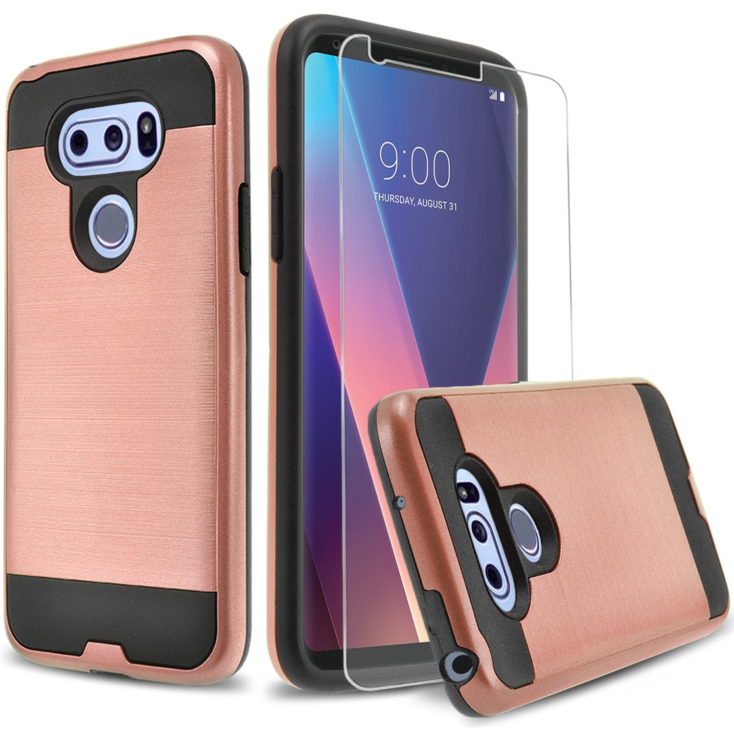 LG G7 Case, Circlemalls 2-Piece Style Hybrid Shockproof Phone Cover With [Premium Screen Protector] And Touch Screen Pen (Black)