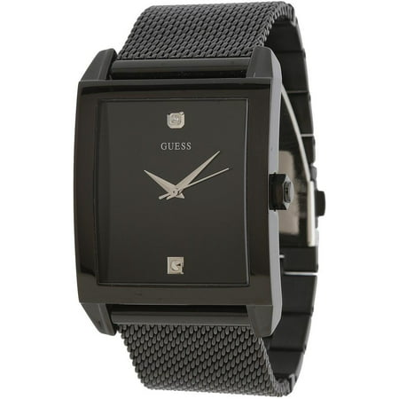 Guess Men's Black Mesh Rectangular Diamond Watch (Guess Black Diamond Accent Watch)