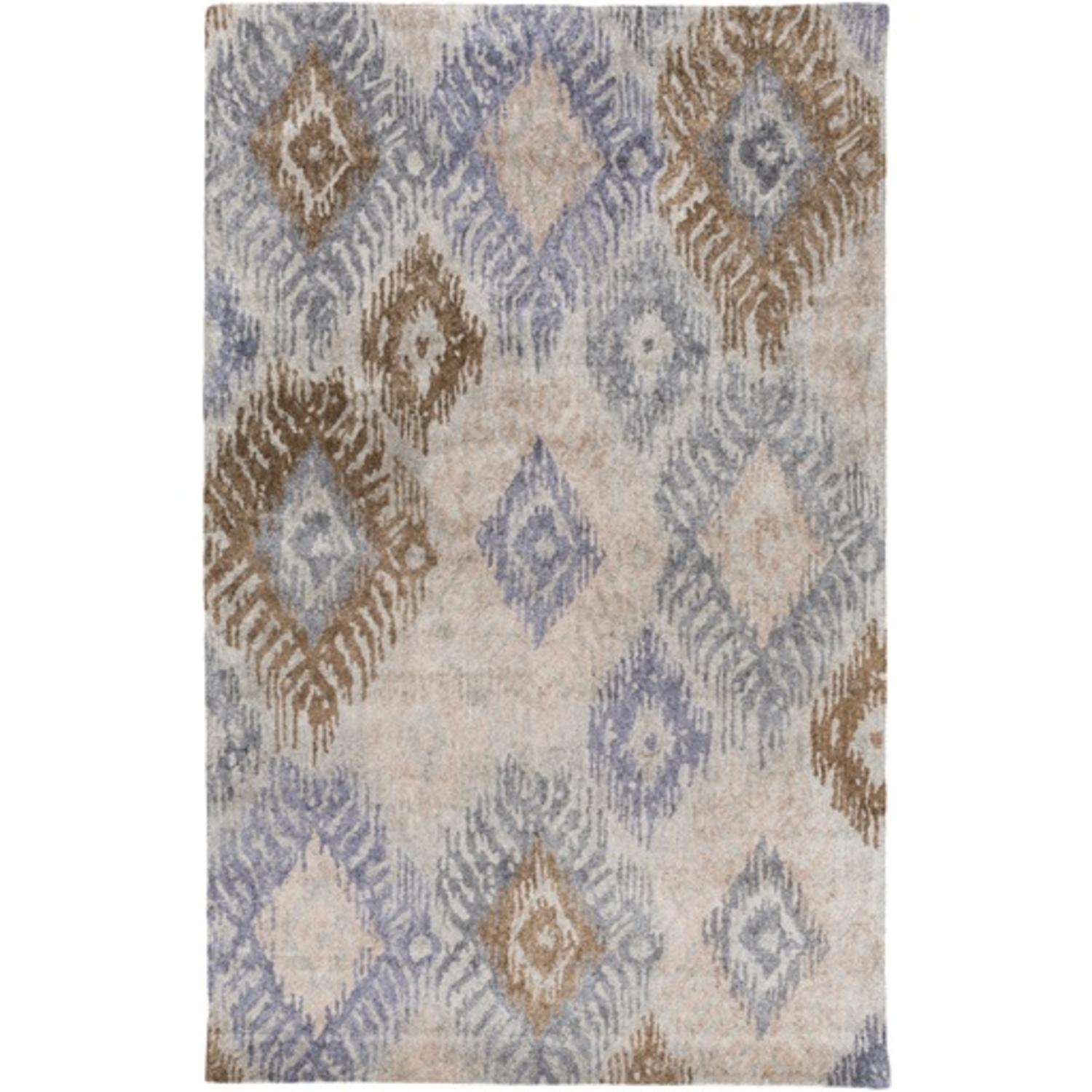 8' x 11' Feathered Diamonds Chocolate Brown, Steel Blue and Slate Gray Hand Tufted Area Throw Rug