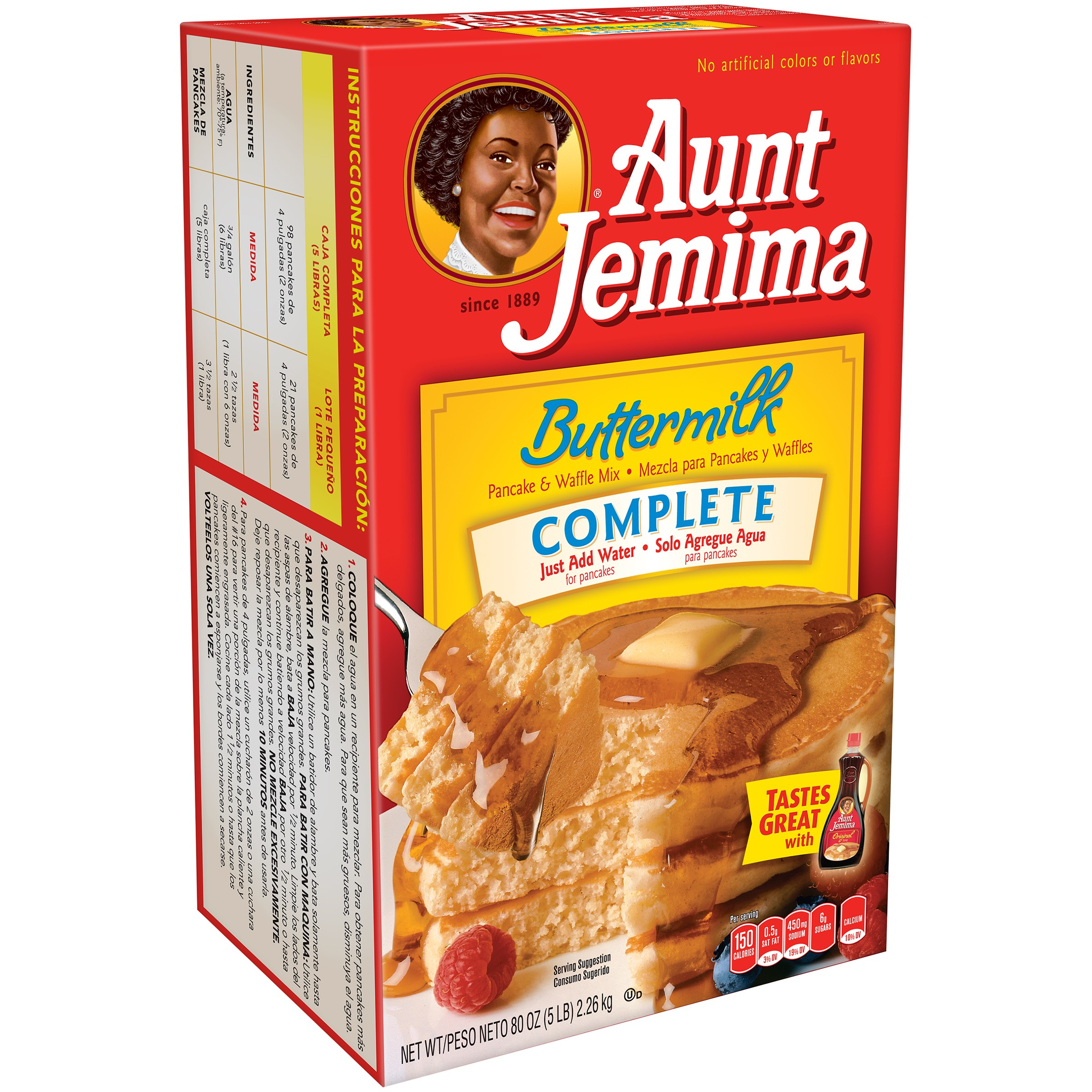 Aunt Jemima Buttermilk Complete Pancake & Waffle Mix 80 oz. Box by Generic