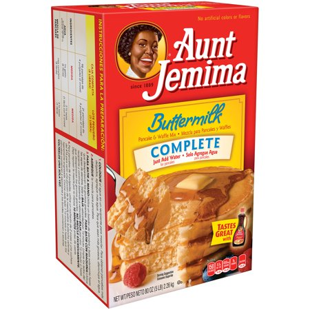(6 Pack) Aunt Jemima Buttermilk Complete Pancake & Waffle Mix 80 oz Box