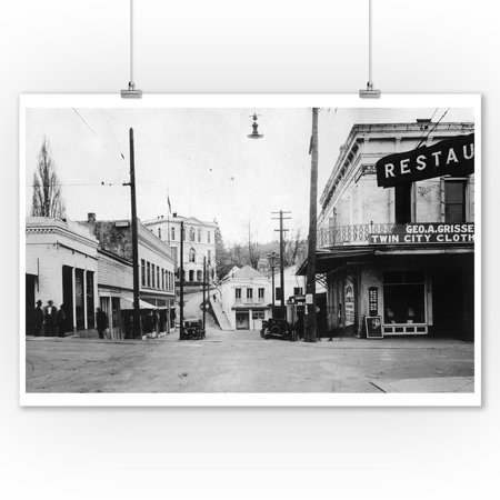 Nevada City, California - View of a Street Corner (9x12 Art Print, Wall Decor Travel