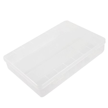 Unique Bargains White Clear Plastic Rectangular 3 Compartments Storage Case Box Container