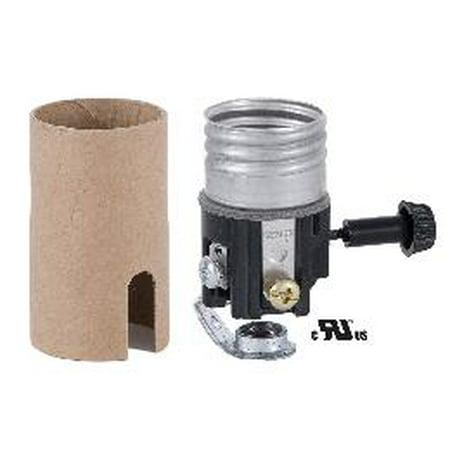 B&P Lamp® Medium Size Socket With 1/8F Hickey, 3-Way Turn Knob (For 3-Way (3 Way Turn Knob Socket)