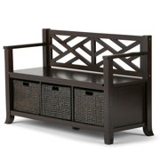 Brooklyn + Max Remington Solid Wood 47 inch Wide Transitional Storage Bench with Basket Storage in Espresso Brown