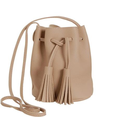 59b0964a6dd5 Humble Chic NY - Mini Tassel Bucket Bag Small Vegan Leather Drawstring Crossbody  Handbag Shoulder Purse