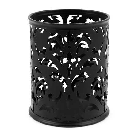 Hollow Flower Design Cylinder Pen Pencil Pot Holder Container Organizer Black](Wood Pencil Holder)
